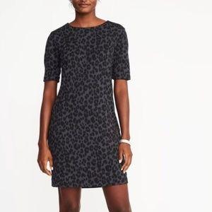 Old Navy Grey Leopard Print Ponte Knit Shift Dress